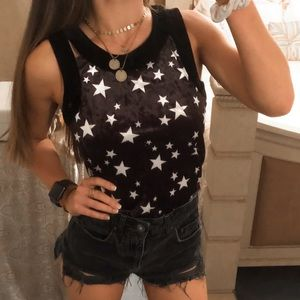 Vintage • Black Velvet Starry Mesh Zip Up Tank Top